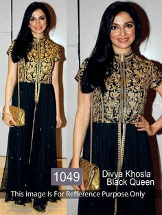 Divya Khosla Georgette Zari Work Black Semi Stitched Bollywood Designer Suit - 1381