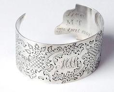 Antique Karen Lindner  Designs English Sterling Monogrammed Cuff Bracelet
