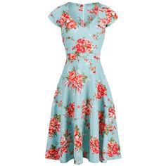 4e553172 1950s Turquoise Blue Floral V Neck Cap Sleeve Swing Dress Swing Dress 50s,  Cat Dresses