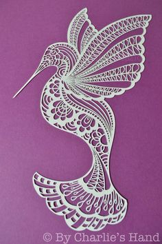 Hummingbird Papercut By Charlie's Hand Paper Lace, 3d Paper, Paper Quilling, Paper Crafts, Kirigami, Paper Cutting Patterns, Glue Art, Vine Tattoos, Wood Burning Patterns