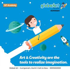 Creativity is allowing yourself to make mistakes. Art is knowing which ones to keep. Art & Creativity are the tools to realize imagination. When you are creating art, you use your creativity to come up with ideas. You have to let yourself go to be creative. Join Globalart Irumpanam now. Limited Seats Only. Call us for more details: 98956 60000 #Globalart #Kochi #Irumpanam #Art #Creativity #Drawing #Imagination Kochi, Global Art, Making Mistakes, Imagination, Creativity, Join, Tools, Let It Be, Create