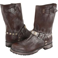 Frye Rogan Engineer Studded (Dark Brown) Cowboy Boots ($209) ❤ liked on Polyvore featuring shoes, boots, brown, mid-calf boots, low heel cowboy boots, brown cowboy boots, western boots, cowboy boots and cowgirl boots