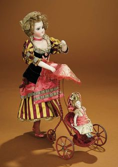 """Bread and Roses - Auction - July 26, 2016: Lot #57 French Mechanical Toy """"Little Girl Walking Her Doll"""" by Vichy"""