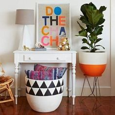 home inspiration: THE FIDDLE LEAF FIG. DIY ideas: the planter w the orange base, and the triangle design on the large bin (could paint one of those lightweight faux ceramic planters from Home Depot) Home Decor Inspiration, Home And Living, Decor, Fiddle Leaf, Decor Inspiration, Home Accessories, Home, Interior, Home Decor