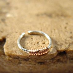 Extreme Thin Nose Ring Sterling Silver with Pink Gold Filled Wrap Daith Earrings, Septum Ring, Thin Nose, Nose Rings, Pink And Gold, Sterling Silver Rings, Rocks, Tattoo, My Style