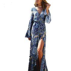 Sweetwill Boho Maxikleid Blumen Lange Sommerkleider Damen Maxi Strandkleid  Casual Langarm V-ausschnitt Kleid für 1de51477f7