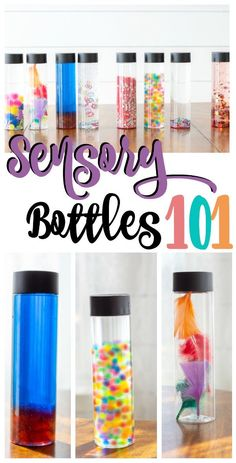 How to Make Sensory Bottles (A MUST for Sensory Meltdowns) Sensory bottle Learn what the benefits of sensory bottles are, how to make sensory bottles that are cheap and fun, and when and why to use them! Sensory Bottles For Toddlers, Sensory Bottles Preschool, Glitter Sensory Bottles, Diy Sensory Toys, Sensory Wall, Sensory Rooms, Sensory Boards, Sensory Bins, Autism Sensory Activities