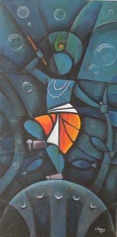 Gallery of Chennai based indian contemporary artist Cheenu Pillai Indian Artwork, Indian Folk Art, Indian Art Paintings, Indian Artist, Krishna Painting, Krishna Art, Krishna Drawing, Lord Krishna, Indian Contemporary Art