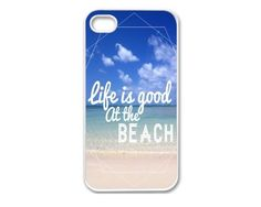 Apple iPhone 4G 4S 4 WHITE HARD PLASTIC Case Cover Skin Life is Good At the Beach Quote Design Pattern Retro Vintage Hipster by Generic, http://www.amazon.com/dp/B00D0GHV8A/ref=cm_sw_r_pi_dp_gcLOrb03Q8MHT