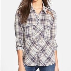 SALE Free People Stitch detail plaid shirt I got this in a trade from a wonderful posher friend. She has kept in in an excellent condition (like new), I didn't wear it. Just can't seem to pair it with anything 😕 always happy with a FP trade 😘 this is the Charcoal combo. Free People Tops