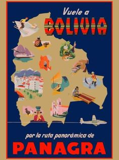 Vuele-a-Bolivia-Panagra-South-America-Vintage-Travel-Art-Poster-Advertisement