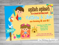 YOU PRINT- Digital Boy and Girl Beach Party Invitation- #0144 on Etsy, $14.00