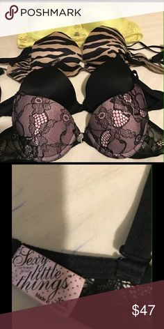 Four Womans Victoria Secret Bras I have 4 bras, all are a size 32A, Color are bright yellow, in mint condition. Tan & black leopard, in mint condition,black, like new and the black lace with diamond lock&key in front is brand NEW!! PINK Victoria's Secret Intimates & Sleepwear Bras