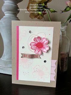 Genesungskarte / Karte Gute Besserung mit den Stampin Up Stempelsets Flower Shop und Eins für alles in den Farben Savanne, Vanille Pur, Wassermelone und Zartrosa