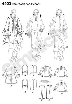 Simplicity 4923- Pirate coat (A) would be awesome for lots of costumes...