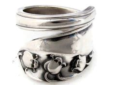 Spoon Ring Lily Of the Valley Sterling Silver Size by dankartistry, $82.00