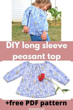 Kids Clothes Patterns, Sewing Kids Clothes, Sewing Patterns For Kids, Dress Sewing Patterns, Baby Sewing, Blouse Pattern Free, Free Pattern, Toddler Girl Outfits, Kids Outfits