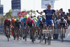 Marcel Kittel of Etixx Quick Step celebrates victory from Mark Cavendish of Dimension Data during the Dubai Silicon Oasis Stage One of the Tour of Dubai on February 3, 2016 in Dubai, United Arab Emirates.