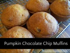 pumpkin chocolate chip muffins-these are SO good. the batter is really yummy too. They freeze like a champ, which is good, because 1 batch made 3 dozen muffins! Just Desserts, Delicious Desserts, Dessert Recipes, Yummy Food, Tasty, Breakfast Recipes, Pumpkin Chocolate Chip Muffins, Choco Chips, Sweet Bread