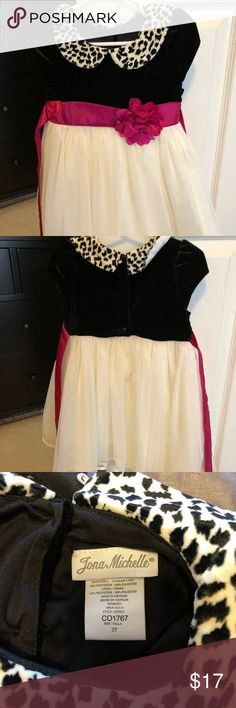 Toddler girls black pink beige dress Beautiful Toddler girls pink and black dress. My daughter only one this once for pictures. Size 3T. It is pink, black and beige. Jona Michelle Dresses Formal