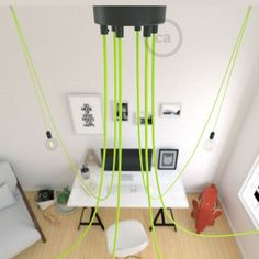 Spider, multiple suspension with 6 pendants, black metal, RF10 Neon Yellow cable, Made in Italy.