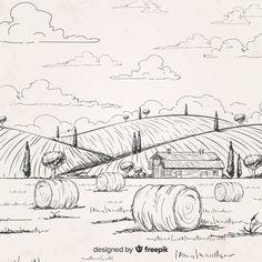 Landscape Drawing Easy, Landscape Sketch, Landscape Art, Easy Drawings Sketches, Pencil Drawings, Art Drawings, Cool Easy Drawings, Arte Dc Comics, Environment Concept Art