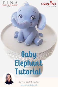 How adorable is this Baby Elephant? Perfect for a Birthday Cake or even a Baby Shower or Christening Cake! Tina Scott Parashar shows you how to make the little fella in a simple step by step tutorial. Elephant Cake Toppers, Elephant Baby Shower Cake, Elephant Cakes, Baby Shower Cakes, Baby Cakes, Elephant Birthday Cakes, Bolo Fondant, Fondant Baby, Fondant Toppers