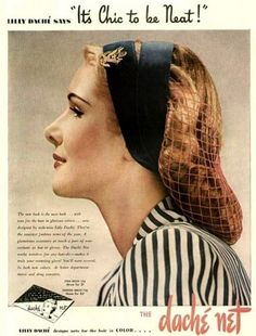 Elegant Lilly Dache snood + double headband from 1944.