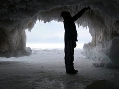 Sea Caves in Winter - Bayfield, WI