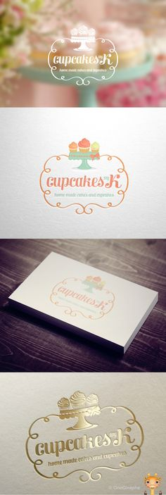 Cupcakes by K - Logo for Sale! by OneGiraphe, via Behance Cupcake Logo, Cupcake Shops, Cake Branding, Logo Branding, Corporate Branding, Brand Packaging, Packaging Design, Bakery Packaging, Logo Dulce