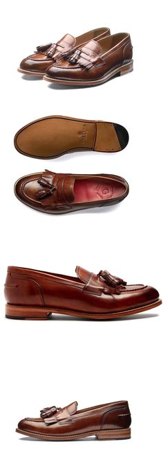e461ca83187 Dress Shoes 53120  Grenson Mens Mackenzie British Tan Leather Tassel Kiltie  Loafers Size 9 8