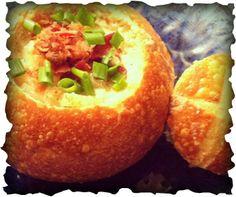 Potato Corn chowder in a sourdough bread bowl
