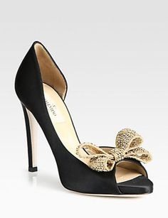 Valentino Satin Jeweled Bow d'Orsay Platform Pumps - Avenue K