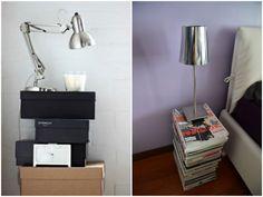 Tables de nuit DIY boite a chaussures magazine. inspiration table de chevet originale home made