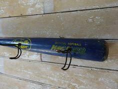 Wooden Vintage Baseball Bat Cap Or Coat Rack With Hooks Blue Louisville Slugger