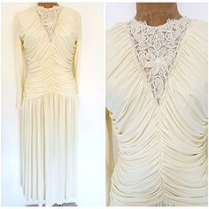 Vintage 80's Wedding Dress Size Medium Ivory Lace Ruched Formal Fluid Draped #ClaraluraOriginal #BallGown #Formal