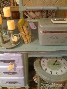 Springtime in Paris French Poem Lettering Stencil and Chalk Paint® on Desk and Luggage | Cerro Home Project #stencils #chalkpaint