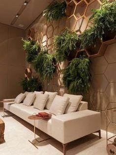 Salon Interior Design, Top Interior Designers, Cafe Interior, Living Room Designs, Living Room Decor, Wall Design, House Design, Vertical Garden Design, House Plants Decor