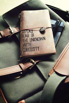 Urban worker's field bag messenger + custom leather journal + Moleskin notebook