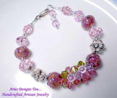 Blossoms.. Mottled Lampwork Bracelet in by ariesdesignstoo on Etsy, $45.00