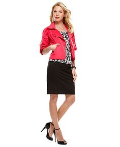 Work Your Wardrobe Bright Jacket and Skirt Look