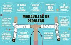 Volvemos a compartir la #infografía de las maravillas de pedalear. Porque me da pena todo el que no las haya disfrutado