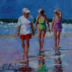 OIL+SKETCH+OF+CASUAL+ENCOUNTER+WHILE+WALKING+THE+BEACH,+painting+by+artist+Elizabeth+Blaylock
