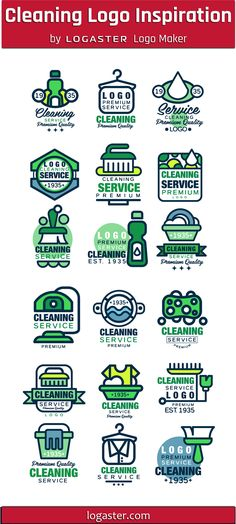 Logaster Logo Maker presents: Cleaning Logo Design Ideas Cleaning Service Logo, Cleaning Business Cards, House Cleaning Services, Business Inspiration, Logo Design Inspiration, Design Ideas, Logo Branding, Logos, Graf