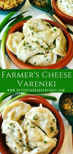 Vareniki with Farmer's Cheese Dumplings. A comfort food popular in Russia, Ukraine and Eastern Europe. Known as Perogies, Pierogi, Pirohy and more... Slather generously with butter and sour cream.