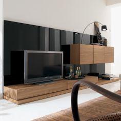 Furniture. Modern Italian Style Living Room Wall TV Unit In Walnut Veneer And Black Nero Gloss Finish.
