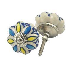 set of 2 blue yellow flower hand painted ceramic pumpkin knobs cabinet handles pulls karmakara http cabinet hardware gt cabinet pulls gt