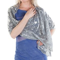 I'd bring a few wraps for the models to try out in  some of the pics - they may or may not be wearing them. Cejon Scalloped Sequin Wrap