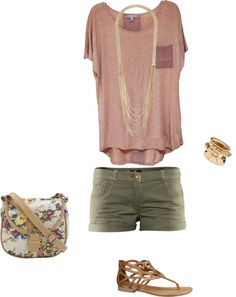 """Spring Outfit - Army Green Shorts"" by stylelover10 on Polyvore with longer shorts"