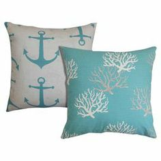 "Bring a pop of visual interest to your living room sofa or reading nook arm chair with these eye-catching cotton pillows, showcasing a nautical anchor motif paired with a coastal-chic coral print.   Product: Set of 2 pillowsConstruction Material: Cotton cover and 5/95 down fillColor: CoastalueFeatures:  Insert includedHidden zipper closureMade in the USAMade exclusively for Joss & Main Dimensions: 18"" x 18""Cleaning and Care: Spot clean recommended"